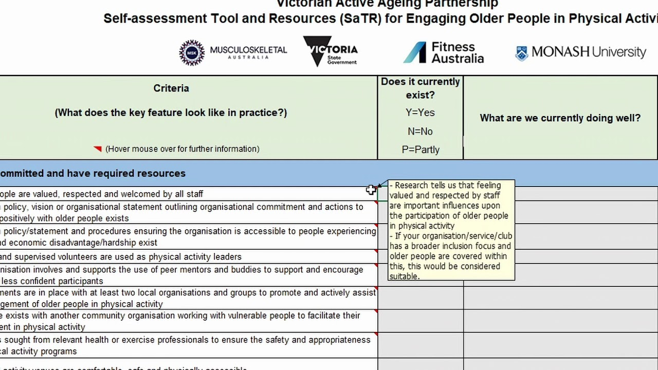 VAAP self assessment tool and resources How to video August 2018