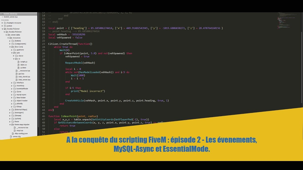 A la conquête du scripting FiveM : épisode 2 - Les évenements, MySQL-Async  et EssentialMode