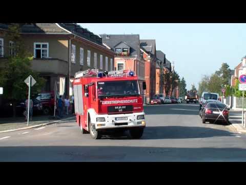 Feuerwehr *Einsatzfahrt* Katastrophenübung Vogtlandkreis