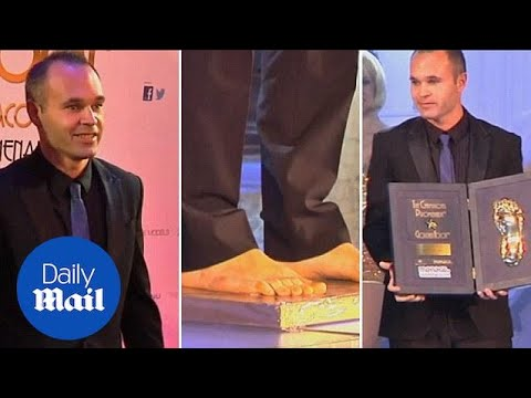 Andres Iniesta wins Golden Foot award in Monaco - Daily Mail