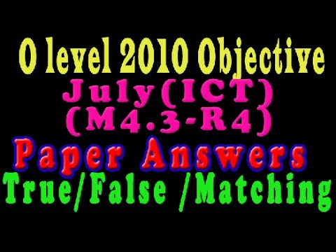 O Level Doeacc/Nielit ICT Paper 2010 July Solve Question M4 3-R4 Objective  Type