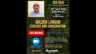 "Dr. Dilip Chatry of Aaranyak talks about ""Golden Langur Ecology and Conservation"""