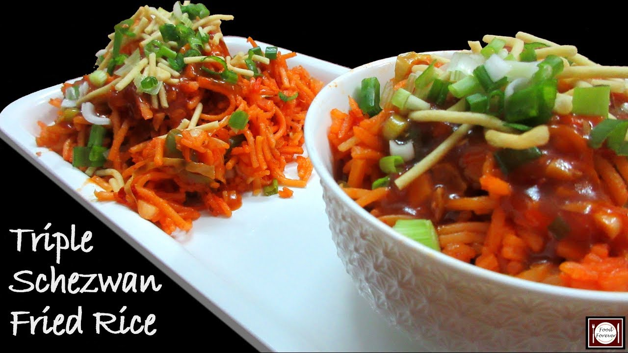 Triple schezwan fried rice recipe in hindi triple schezwan fried rice recipe in hindi schezwan fried rice ccuart Images