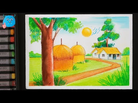 How to Draw a Beautiful Scenery of Village Painting for Kids Detailed with Oil Pastels