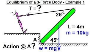 Mechanical Engineering: Equilibrium of Rigid Bodies (17 of 30) Ex. 1 Eq. of 3-Force Body