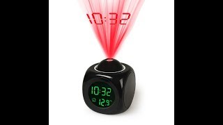 The LED Projection Talking Temperature Alarm Clock Instructions Review And Unboxing