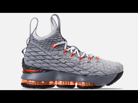 fcc7187a5d2 Nike Lebron 15 Gs   Grey   Orange