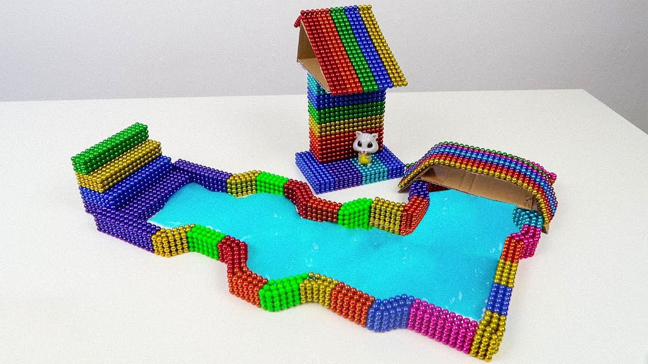 DIY - How To Make Rainbow House Pool, Toy Sitting by the River with Magnetic balls, Slime