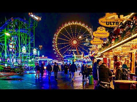 [4K HDR] Hamburg Dom Festival Night Walking tour Part 1 Hamburg city. Germany 🇩🇪 2021