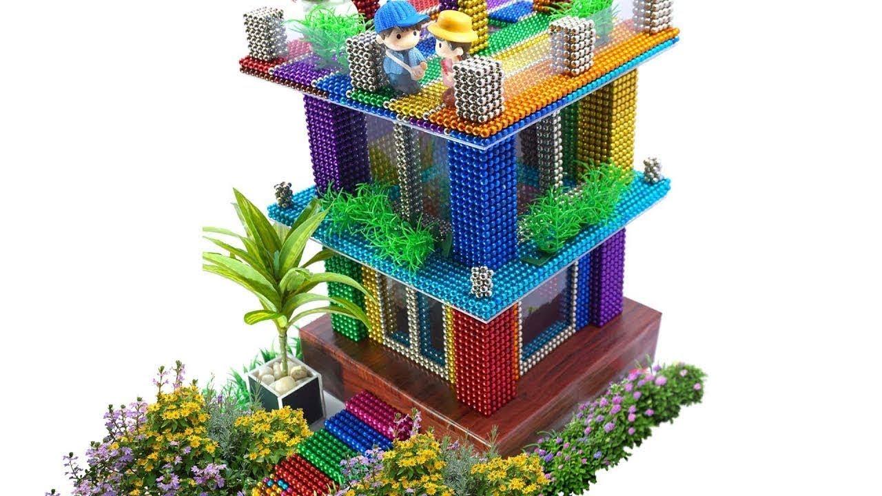 DIY - How To Build Magnetic Balls Skyscraper | Saticfaction Videos Art Magnetic Game