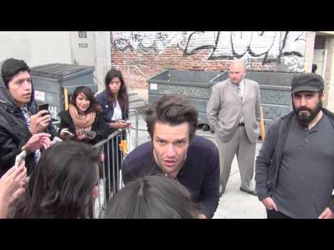 Brandon Flowers greets fans outside Jimmy Kimmel Live