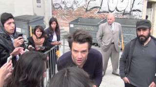 Brandon Flowers greets fans outside Jimmy Kimmel Live