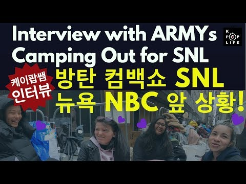 BTS Comeback show, SNL Interview with camping out ARMYs   SNL,     NBC !!