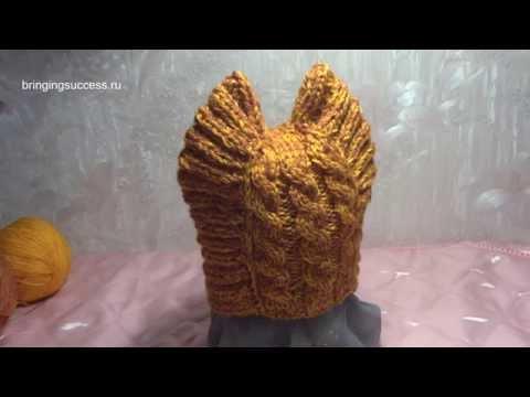 Котошапка Вязание спицами (детская шапочка, шапка)