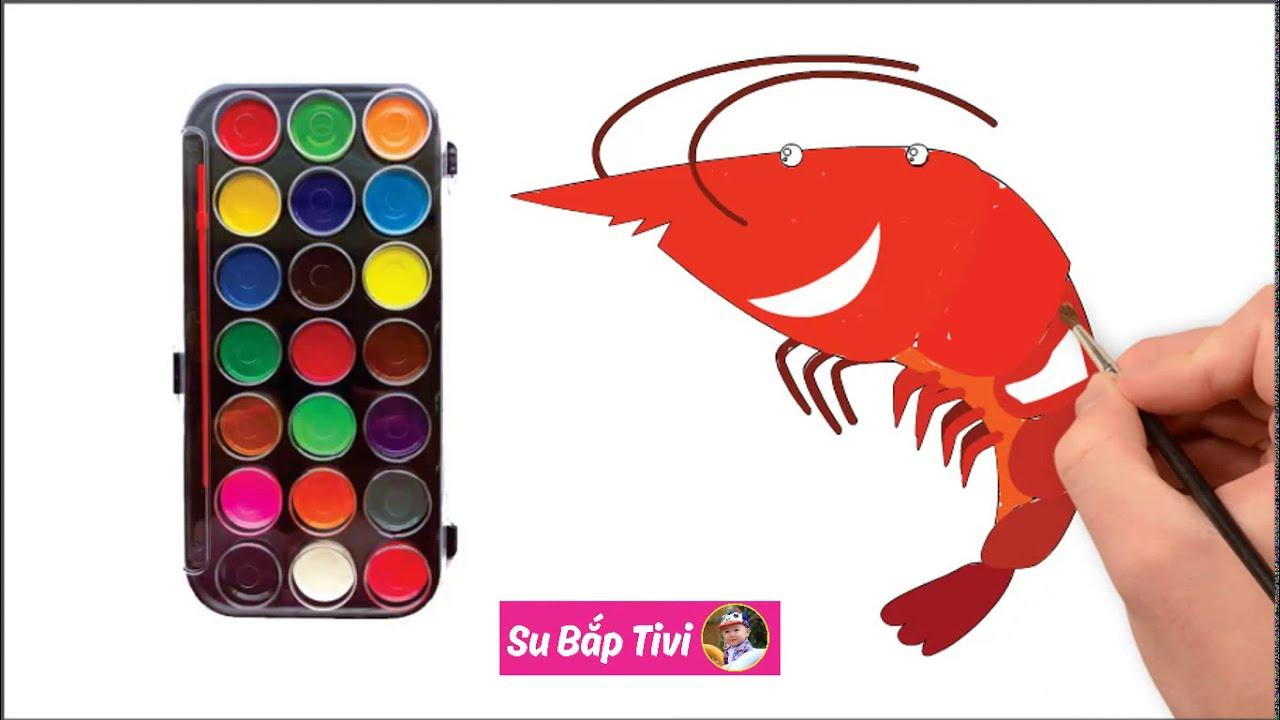 Shrimp coloring | Lobster coloring pages | How to draw a shrimp | Cách vẽ con tôm đơn giản