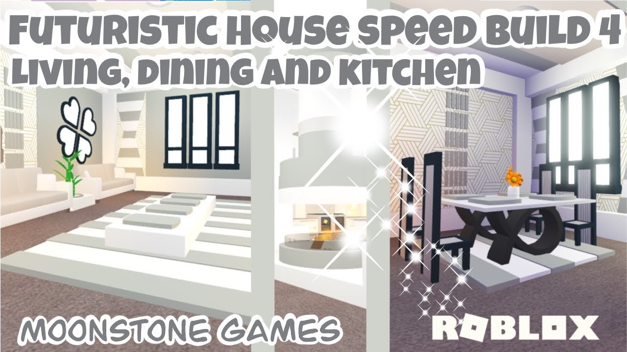 Adopt Me Futuristic House Speed Build Part 4 Living Dining And Kitchen Aesthetic Home Youtube