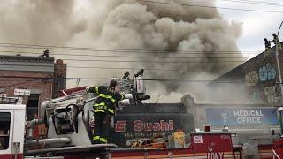 FDNY BOX 3005 - FDNY BATTLING MAJOR 5TH ALARM COMMERCIAL FIRE ON FLATBUSH AVE., MARINE PARK BROOKLYN
