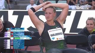 Tatsiana Khaladovich - PB, NR - 67.47m. Diamond League Oslo