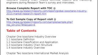 Global Isooctane Industry 2015 Market Survey Study Analysis and Overview