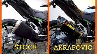 kawasaki z800 akrapovic slip on vs stock exhaust