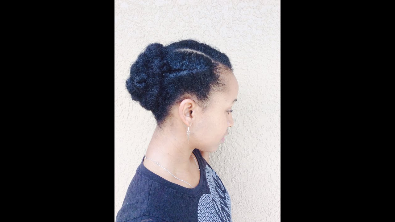 Natural hair easy protective style Updo short medium length
