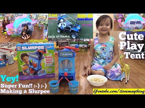 Play Tent Playtime Fun! Paw Patrol Helicopter Tent, Power Wheels Ride and Slurpee Maker Playset