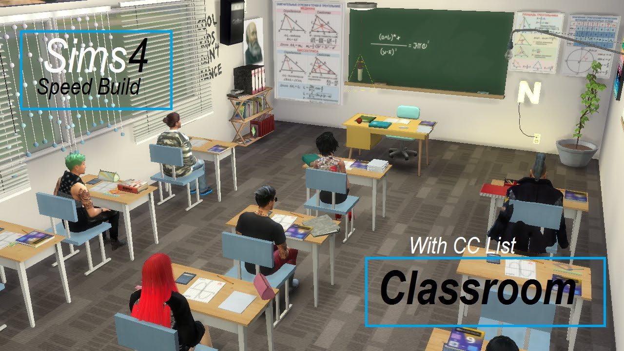 List Of Classroom Furnitures ~ The sims speed build classroom w cc list youtube