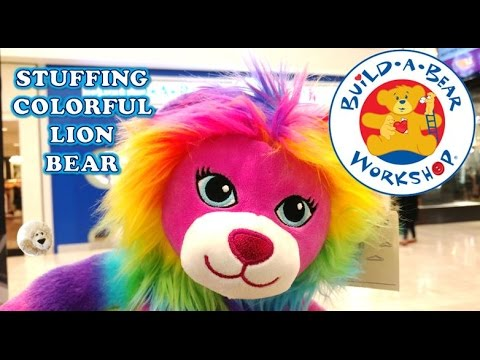 STUFFING Build-A-Bear COLOR CRAZE LION GIRL Stuffed Animal Workshop In Store BuildaBear Haul Video