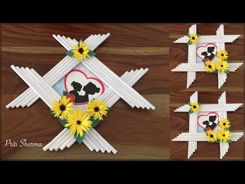 Awesome Photo Frame Out Of Newspaper Sticks And Paper Flower / DIY / Paper Craft | Priti Sharma