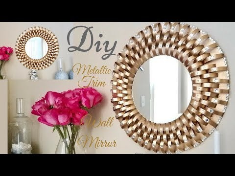 Diy Metallic Trim Wall Mirror| Inexpensive Wall Decorating Idea!