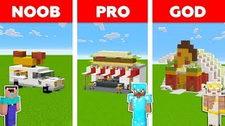 Minecraft NOOB vs PRO vs GOD: FAMILY FAST FOOD RESTAURANT in Minecraft / Animation