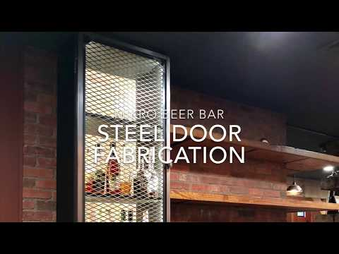 Custom steel door fabrication at Mikro beer bar