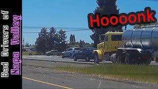 Arrogant Jerk Driver Punishes Trucker - ROAD RAGE - Long Horn Blast