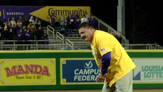 Coach O throws out first pitch at LSU Baseball