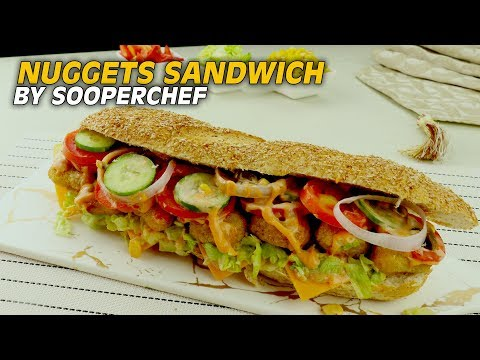 Nuggets Sandwich Recipe With Dynamite And Honey Mustard Sauce Recipe By SooperChef