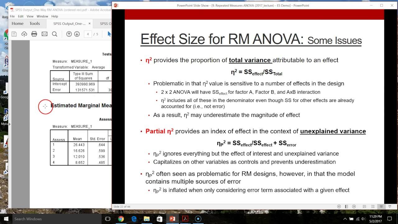 PSYC 5300 Demo: RM Effect Size - Generalized Eta Square - YouTube