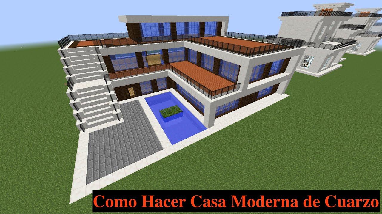 Como hacer una casa moderna en minecraft pt2 youtube for Construir casas modernas