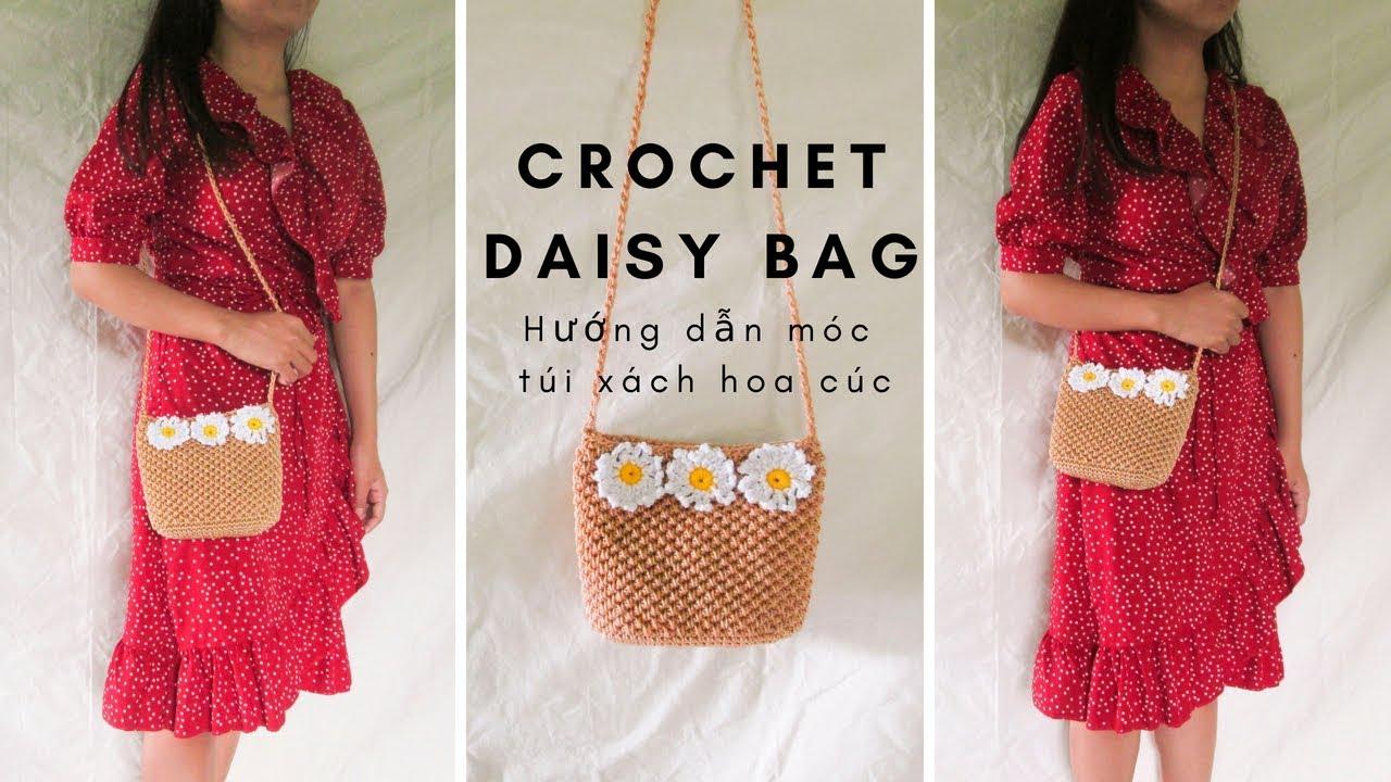 CROCHET DAISY BAG | Hướng dẫn móc túi xách HOA CÚC | Vyvascrochet