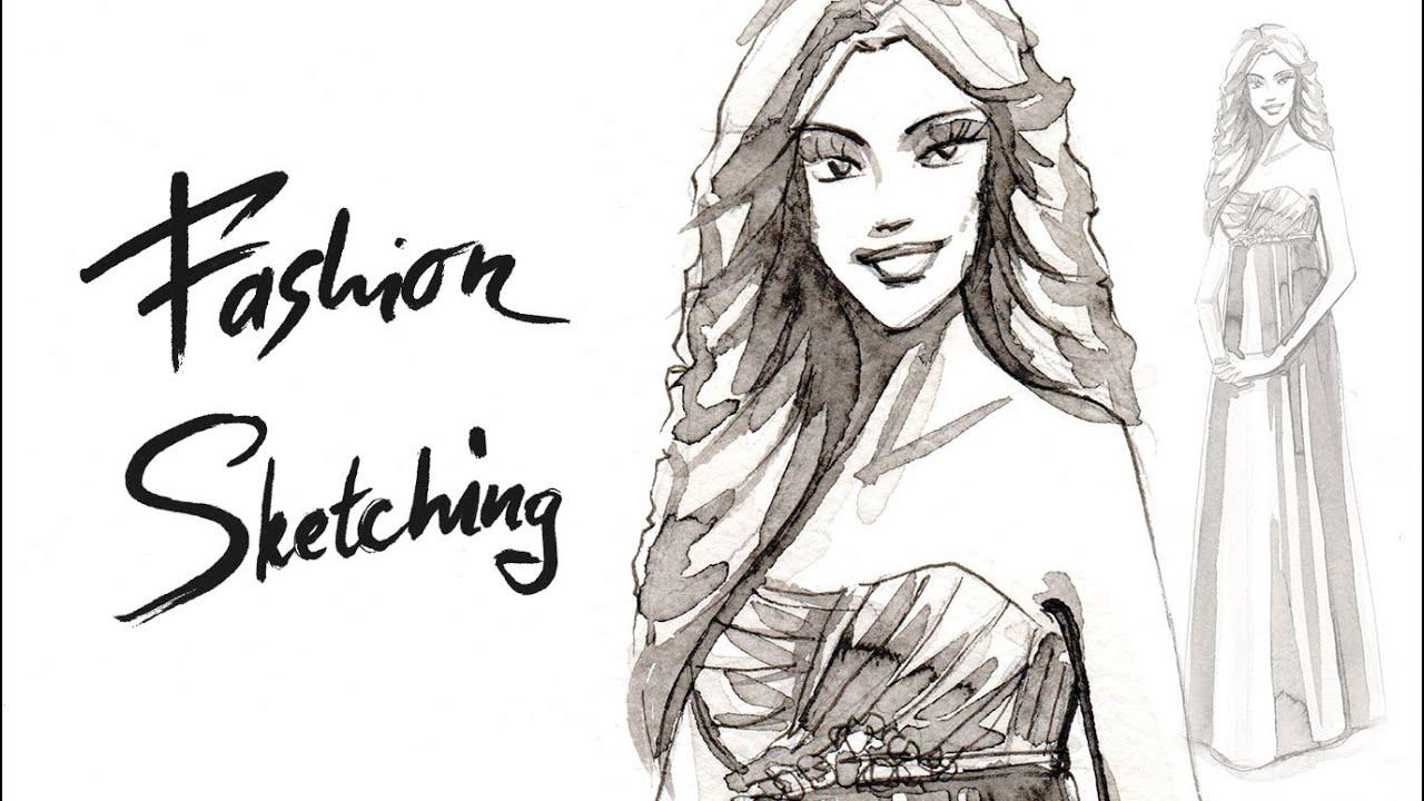 Fashion Скетчинг: Рисуем Fashion Скетч Девушки Тушью. «Телефон Девушка Мода»