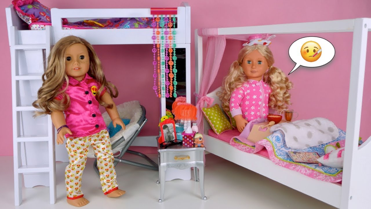 Doll Bunk Bed Pink Bedroom Morning Routine Sick Day