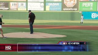 KYLE BUSCH THROWS OUT FIRST PITCH