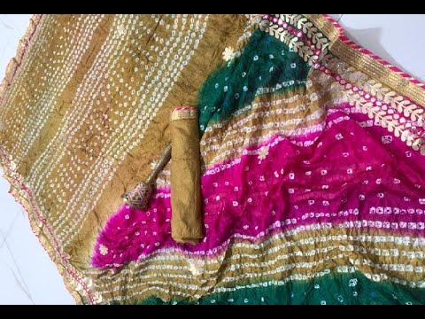 Attractive Art Silk Bandhani Multicolor Sarees With Gota Patti Work (2021)