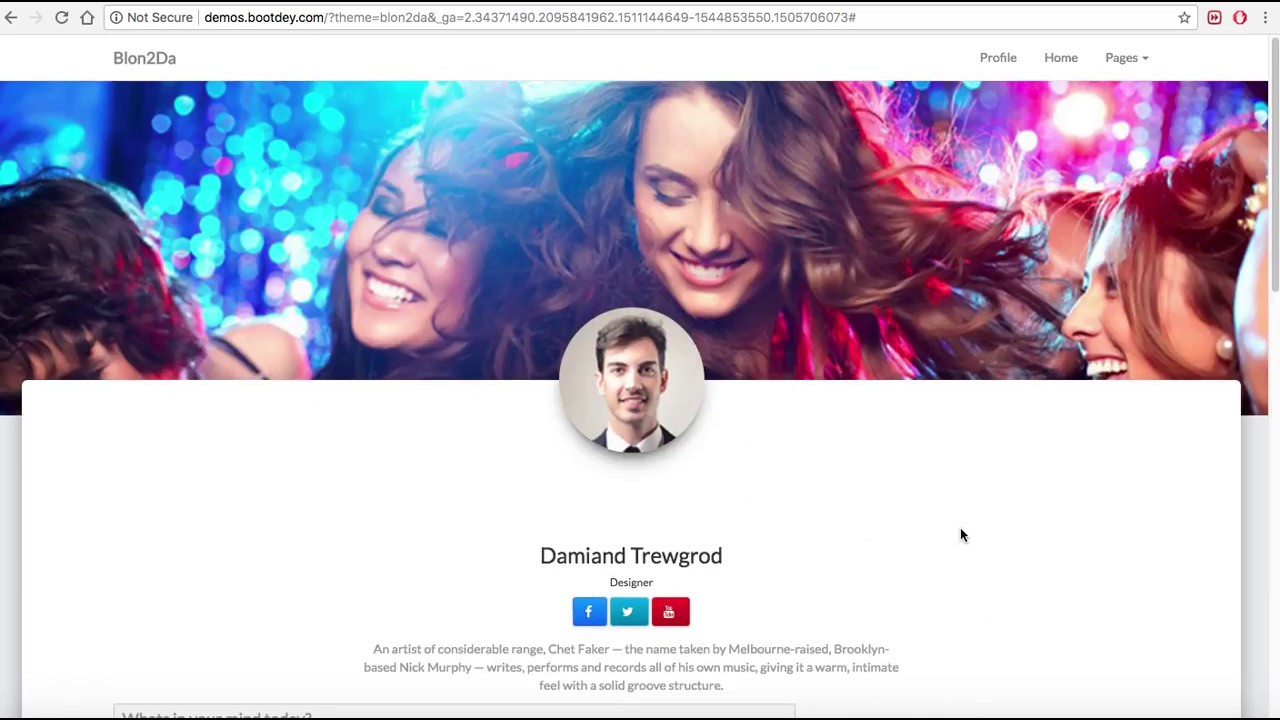 Bootstrap Social Network Template Youtube