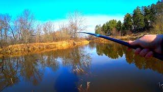 С поплавком на малую реку весной и карась на маховую удочку! Рыбалка на поплавок в марте!