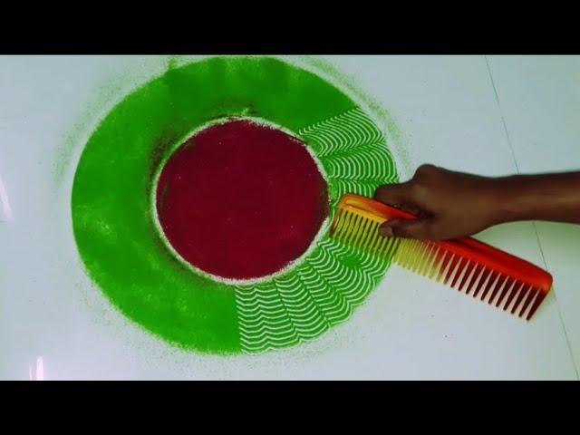 Colourful Rangoli Designs for Diwali | ???? ?? ????? Rangoli Easy and Attractive Design using Comb