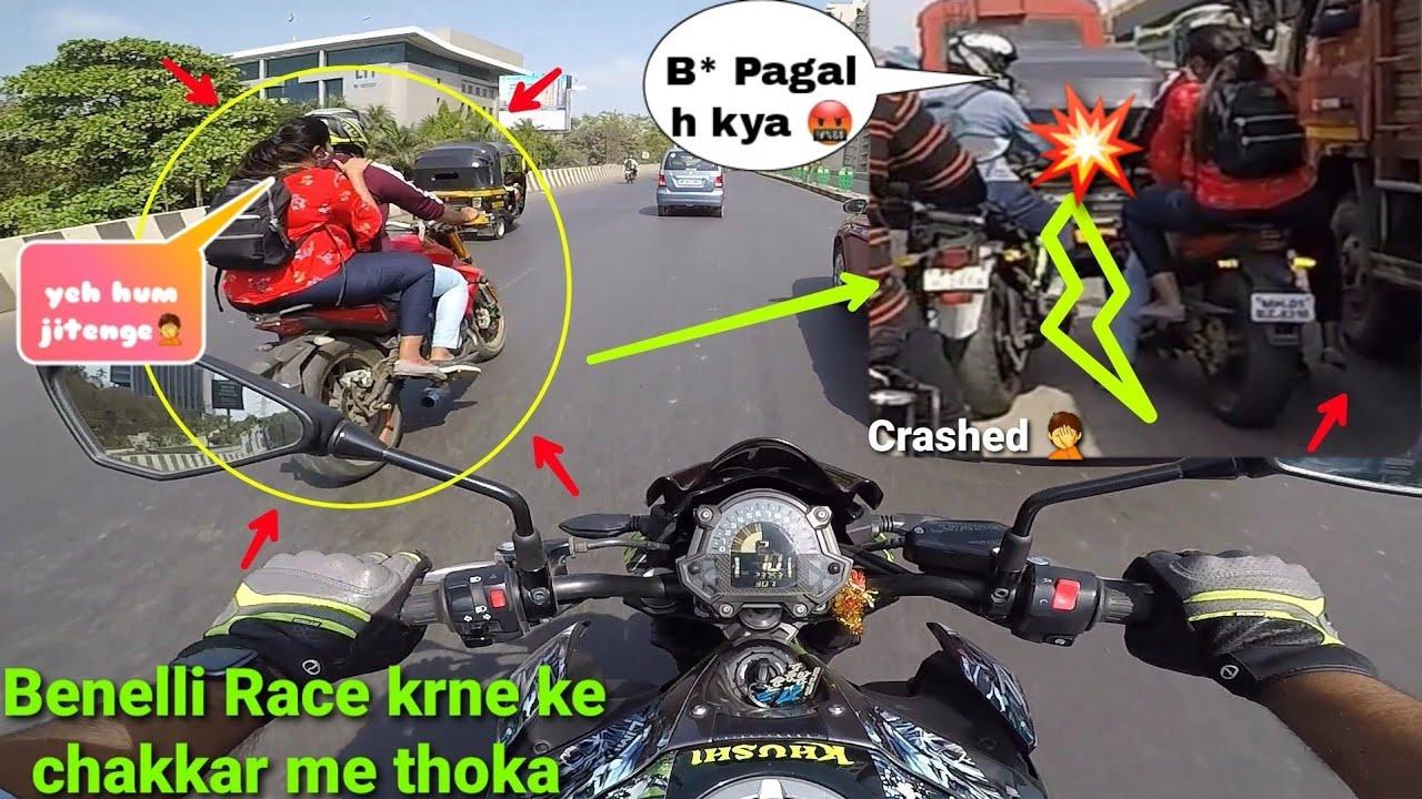 Ladki sath lekr Race krne gya aur thok diya bike😡|Benelli 300 vs Z900|Must watch|Z900 Rider