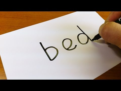 Very Easy ! How to turn words BED into a Cartoon for kids -Drawing doodle art on paper