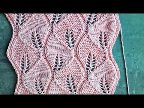 Ажурный узор листья спицами узор листья схемы