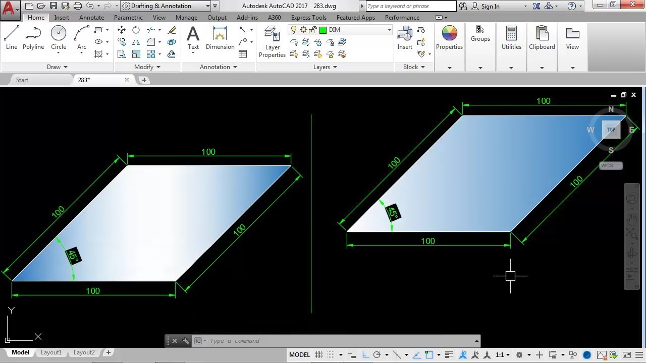 Drawing Lines In Cad : How to draw a line at an degree angle in autocad youtube