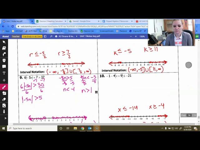 Algebra 2: Absolute Value Inequalities